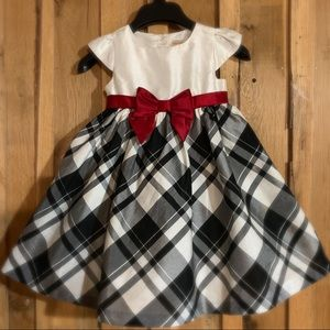 Gymboree 3T Dress Black and white plaid, red bow